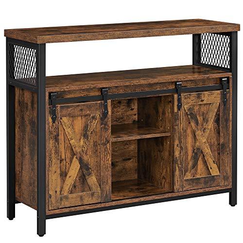 VASAGLE Sideboard, Küchenschrank, Aufbewahrungsschrank, mit 2 Schiebetüren, verstellbare Ablage, industriell, für Wohnzimmer, vintagebraun-schwarz LSC092B01