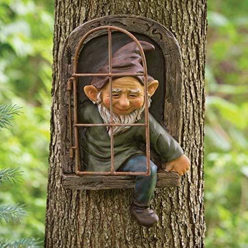 CNZXCO 2pcs Gartenzwerge wetterfest Garten GNOME Statue, GNOME Baum Fensterharz Garten Figuren, Baum Huggers Garden Decor Wunderliche Baum Skulptur Garten Dekoration