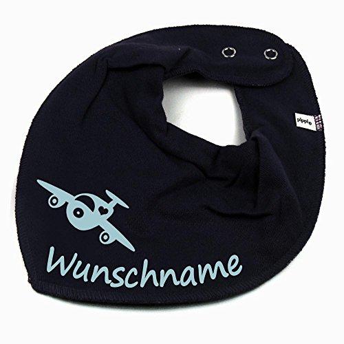 HALSTUCH Flugzeug mit Namen oder Text personalisiert dunkelblau für Baby oder Kind