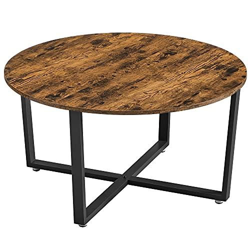VASAGLE Couchtisch, Wohnzimmertisch, rund, Sofatisch, Kaffeetisch, Metallgestell, einfacher Aufbau, Industrie-Design, für Wohnzimmer, Schlafzimmer, vintagebraun-schwarz LCT089B01