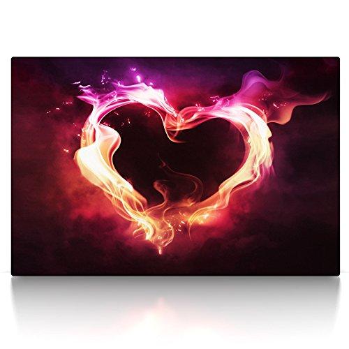 CanvasArts Feuer Herz rot - Leinwand Bild auf Keilrahmen Wandbild Love Liebe abstrakt 05.2201 (60x40 cm, einteilig)