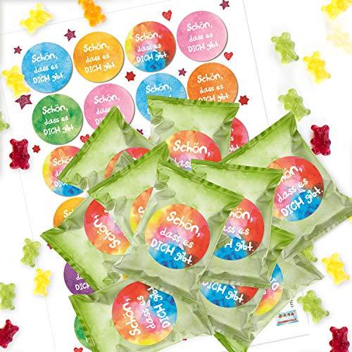 Logbuch-Verlag 24 kleine SCHÖN DASS ES Dich GIBT Gummibärchen Mini Geschenke bunt Kinder Freunde Mitarbeiter - Give-Away Präsent