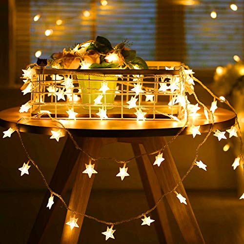 Adoric 5m 40er LED Lichterkette Sternen Haus Dekoration Warmweiß