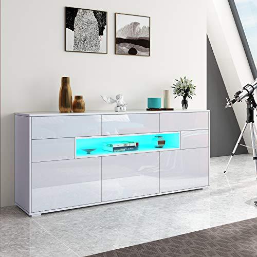 Senvoziii Sideboard Kommode 3 Türen 5 Schubladen mit LED Vitrine Wohnzimmer Hochglanz Buffetschrank Anrichte für Küche Esszimmer Wohnzimmer Weiß