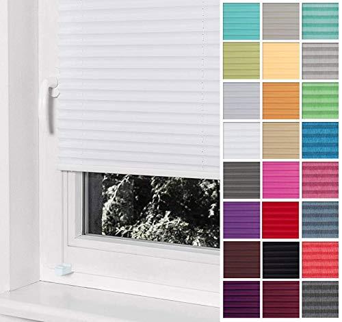 Home-Vision® Premium Plissee Faltrollo ohne Bohren mit Klemmträger / -fix (Weiß, B65cm x H120cm) Blickdicht Sonnenschutz Jalousie für Fenster & Tür