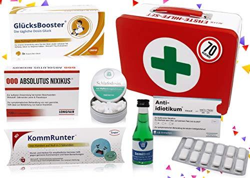 70. Geburtstag   Erste Hilfe Set Geschenk-Box, witziger Sanikasten   8-teilig   Spaßgeschenk zum 70. Geburtstag