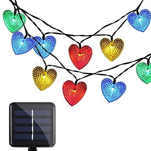 SUAVER Solar Lichtschlauch Lichterkette, Wasserdicht 20ft 30LED Herzform Außenlichterkette LED Lichterkette Weihnachtsbeleuchtung Beleuchtung Für Weihnachten Hochzeit Garten Dekoration