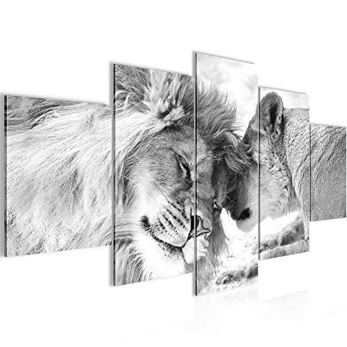 Wandbild XXL Bilder Löwen Liebe 200x100 cm Wanddekoration Wohnzimmer Flur Schwarz Weiß 002151c