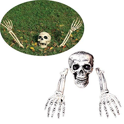KKL0547 Realistische Skelettpfähle, Halloween, Horror, Skelett, Totenkopf, Dekoration für Rasen, Garten, Hof
