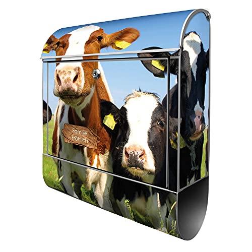 banjado® Design Briefkasten personalisiert mit Motiv Kühe 39x47x14cm & 2 Schlüssel - Briefkasten Stahl silber mit Zeitungsfach pulverbeschichtet - Postkasten A4 Einwurf inkl. Montagematerial
