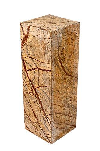 Säule aus 100% hochwertigem indischen Marmor, sehr stabil, als Sockel für Skulptur, Büste, Vasen, oder Galeriesockel oder als Blumensäule, als Dekosäule und Schmucksäule, Schlicht, klassische Optik, Standfest, ideal für Wohnraum, Terrasse, Balkon oder Garten, H/B/L: 100x22x22 cm; Gewicht: 33 KG