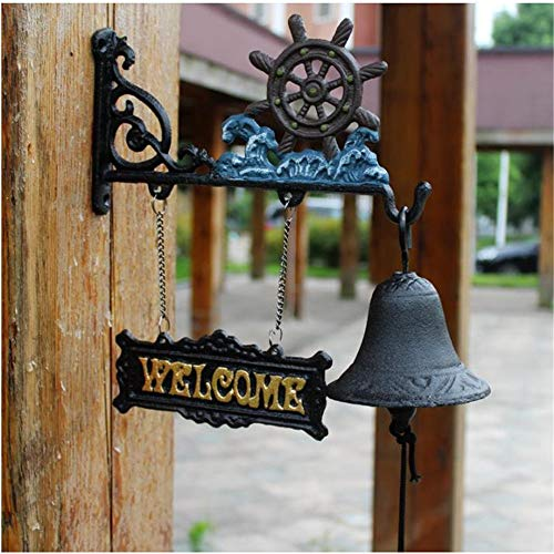Antique Türklingel Chimes Schmiedeeisen Anker Dekoration Türklingel Garten Antike Art Kreative Klassik Dinner Bell Wind Chime Willkommen Ring-Bar Café Yard Farm (Farbe : C1, Größe : As shown)