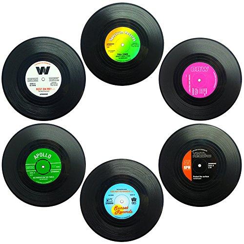 Senhai Set von 6 Untersetzer, Retro Vinyl Record Matten Tischsets für Kalt-Heißgetränke, Anti-Rutsch-Tabletop-Schutz verhindert Rutschen - 4.1'