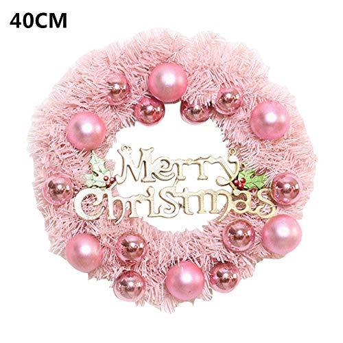 SNIIA Weihnachtskranz Kunststoff aus Weihnachtskugeln Kranz Christbaumkugeln Weihnachtsdeko Türkranz Deko-Kranz Weihnachten Thema Rosa