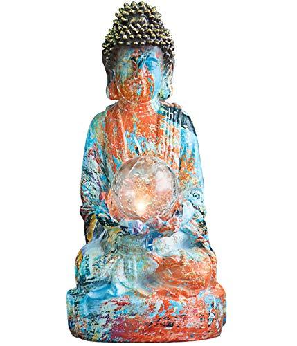 Dehner Dekofigur Solarleuchte Buddah Gautama, ca. 50 x 25 x 25 cm, Polyresin, mehrfarbig