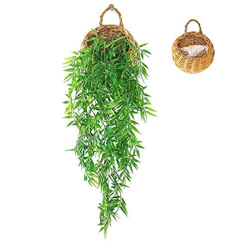 ANZOME Kunstpflanze Hängend Künstliche Pflanzen mit Holzkorb, Hängepflanze Künstlich Efeu Künstlich 107cm für Büro, Küche, Garten, Party Wanddekoration (Bambusblatt)