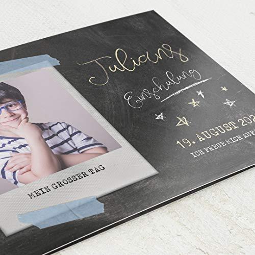 sendmoments Einschulung Einladungskarten, Sternchen, 5er Klappkarten-Set DIN C6 horizontal, personalisiert mit Wunschtext und -Foto, wahlweise mit passenden Umschlägen im gleichen Design