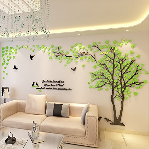 DIY 3D Riesiger Baum Paar Wandtattoos Wandaufkleber Kristall Acryl Malen Wanddeko Wandkunst (L, Grün, Links)