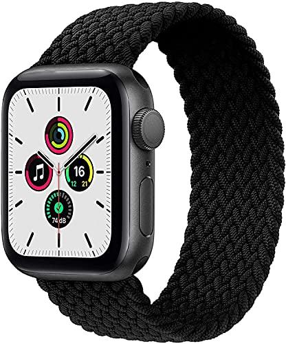INTPIHP Geflochtenes Solo Loop Kompatibel mit Apple Watch Armband 38mm 40mm 42mm 44mm,Elastic Nylon Sport Ersatzband mit iWatch (Schwarz, 42MM / 44MM S:5.1'-5.7')
