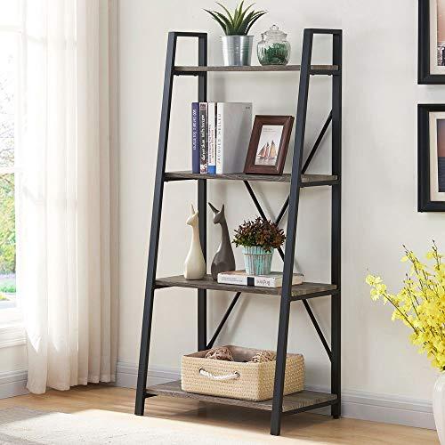 BON AUGURE Standregal, Leiterregal mit 4 Ebenen, Bücherregal aus Holz und Metall, Industrie Regal für Wohnzimmer, Schlafzimmer, Küche HBT: 130 x 60 x 36 cm, Eiche Grau