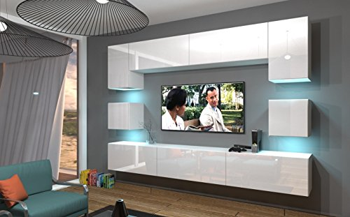 Home Direct NOWARA N1, Modernes Wohnzimmer, Wohnwände, Wohnschränke, Schrankwand (Weiß MAT Base/Weiß HG Front, Möbel)