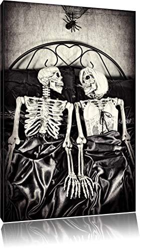 Horror Paar Bild auf Leinwand, XXL riesige Bilder fertig gerahmt mit Keilrahmen, Kunstdruck auf Wandbild mit Rahmen, guenstiger als Gemaelde oder Bild, kein Poster oder Plakat, Format:120x80 cm