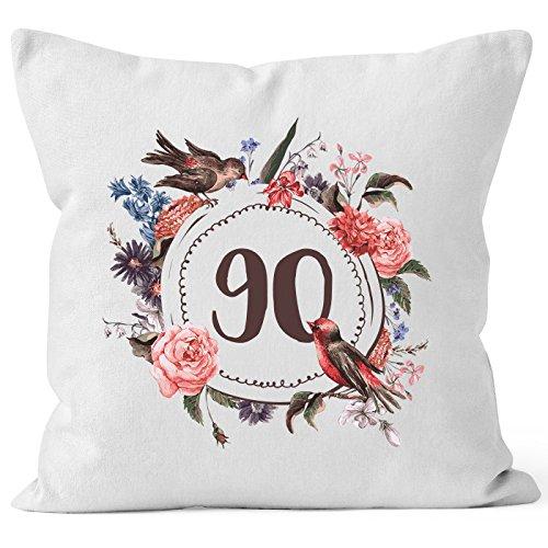 MoonWorks Kissen-Bezug Geburtstag 90 Geschenk-Kissen Blumen Blüten Blumenkranz Bordüre Kissen weiß Unisize