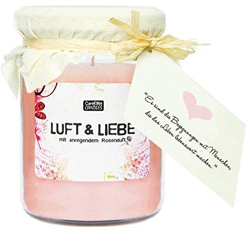 Große Duftkerze Luft & Liebe im Glas als Geschenk Set  Rosa Wachs-Kerze mit romantischem Rosen-Duft  Windlicht im Glas mit Deckel  Große Duftkerze im Glas als Weihnachts-Geschenk für Frauen
