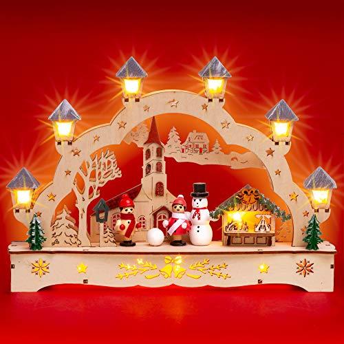 SIKORA LB70s Kleiner LED Holz Schwibbogen Dorfkirche mit Weihnachtsmarkt L: 27 cm