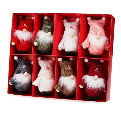 Weihnachtswichtel aus Holz 8-teiliges Set in Geschenkbox, 9 cm Baumanhänger Weihnachtsanhänger, mit Anhänger - Winterkinder als Weihnachtsbaumschmuck, Deko & Geschenk