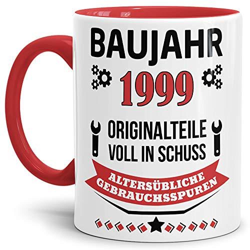 Tassendruck Geburtstags-Tasse Baujahr 1999' Innen & Henkel Rot/Kaffee-Tasse/Mug/Cup/Becher/Lustig/Witzig/Fun/Geschenk-Idee/Geburts-Jahr/Scherz-Artikel/Geburtstags-Geschenk