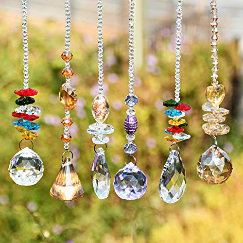 Kristall Sonnenfänger Fenster, Kristalle Deko Anhänger, Kristall Glas Prisma Anhänger Lampen Deko Anhänger, Kristallglaskugel für Zuhause, Garten,Kristall Licht Dekoration (6 Stück)