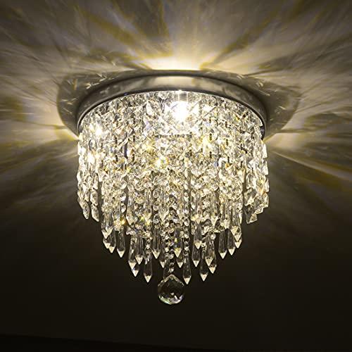 Depuley Modern Kronleuchter Kristall Leuchte mit Elegantem Design, Kristall Deckenleuchte, Breite 25 x Höhe 24 cm, 3 Lampenfassungen für Flur, Wohnzimmer, Schlafzimmer, Esszimmer, Hotel