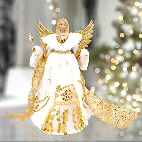 The Christmas Workshop, Engel für Christbaumspitze Gold und Creme