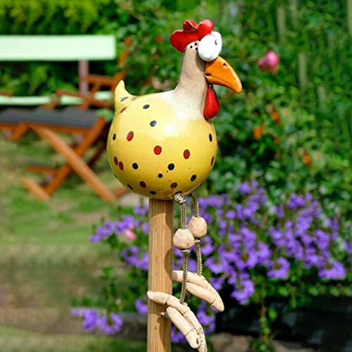 Gartendeko Huhn Deko, Chicken Yard Art Gartenstecker, Outdoor Garten Gartendeko Hinterhof Rasen Pfähle Huhn Gartenstecker Henne Hahn Henne Vogel Seitensitz Indoor(Gelb)