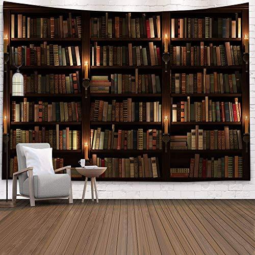 Old Bird Vintage Bücherregal Bibliothek Wandteppich Retro Art Wandbehang Wohnkultur für Wohnzimmer Schlafzimmer Wohnheim Hintergrund Wand Hintergrund (Bücherregal 5, 200x150cm)