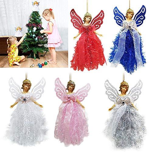 Knowled Weihnachtsbaumschmuck Engel Für Weihnachtsbaumspitze Traditionelle Top Angel Christbaumspitze Aus Kunststoff Rot Blau Weiß Rosa Silber Für Weihnachtsfeiertags-Party