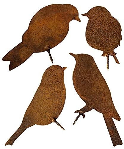 Rostiges Vögel mit Schraube zum Eindrehen in Holz, 4 Edelrost Vögel Gartenstecker Rost Rostige Gartendeko Eichhörnchen Rost Deko Baumstecker