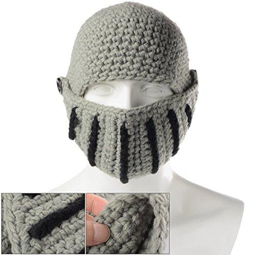 Xcellent Global Unisex Römische Ritterhelm Mütze mit Visier, handgefertigte gestrickte Beanies, winddicht, staubdicht, Mütze mit Gesichtsmaske, Einheitsgröße SP029