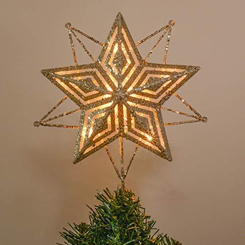 Valery Madelyn 28cm Metall Plastik Weihnachtsbaumspitze mit Stern Batteriebetrieben 10 Warmgelb LEDs beleuchtete Christbaumspitze in glitzerndes Gold mit Perlen Weihnachtsdeko MEHRWEG Verpackung
