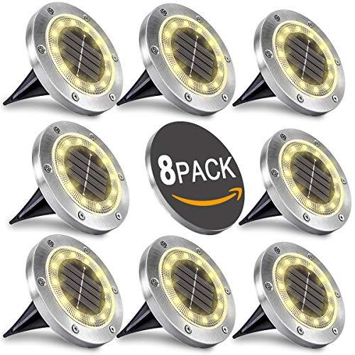 WOWDSGN Solar Bodenleuchten 12 LEDS Warmweiß Solar Wegeleuchten Außen Solarleuchten Edelstahl IP65 Wasserdicht Solarlampen für Rasen Garten Pathway Hof, 8 Stück