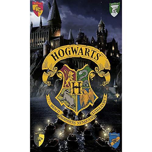 BERONAGE Harry Potter Badetuch Hogwarts 75cm x 150cm Velours-Qualität Strandlaken Strandtuch Handtuch Badelaken Saunatuch Gryffindor Hufflepuff Ravenclaw Slytherin Ron Hermine passend zur Bettwäsche