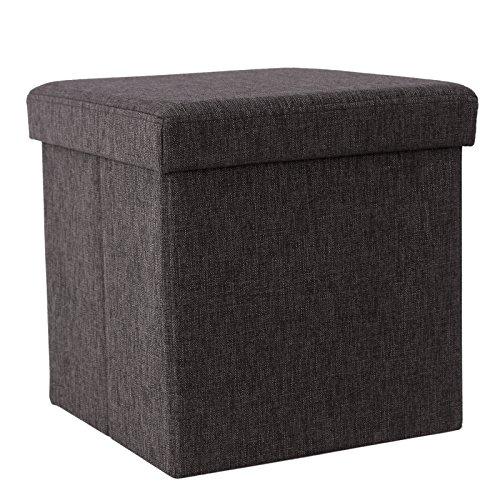 SONGMICS Faltbarer Fußbank Aufbewahrungsbox belastbar bis 300 kg, leinen, kaffeefarbe, 38 x 38 x 38 cm, LSF27K