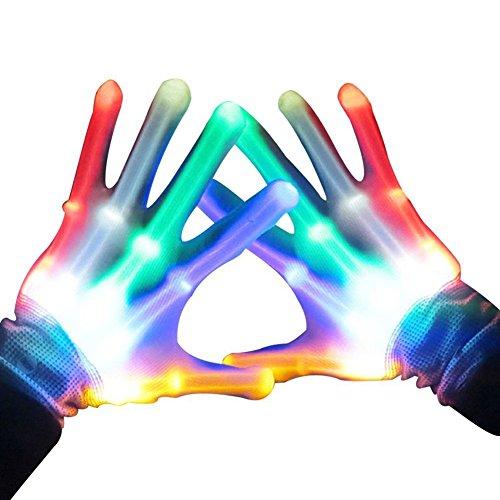 Handschuhe LED Bunte Beleuchtung Finger Glow Für Halloween, Clubs, Festivals, Weihnachten, Stage Performance, Sports, Party - 1 Paar