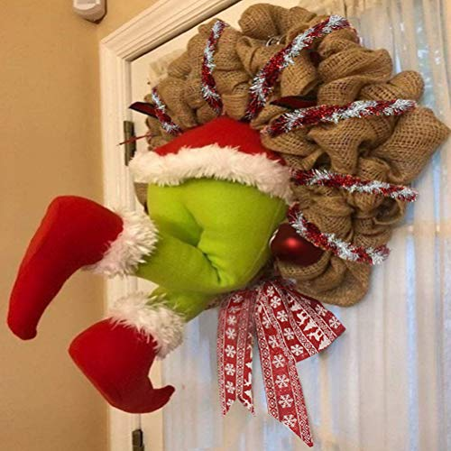 KENANLAN Weihnachtskranz 12 Zoll Türkranz Weihnachten Weihnachtsdeko Kranz deko Wie der Grinch den weihnachtskranz tür aus Sackleinen gestohlen hat