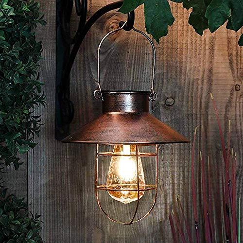 pearlstar Solarlaterne für Außen Hängend Vintage Metall Solarleuchten Gartenleuchte mit Warmen LED-Lampen für Outdoor Garten Hof Terrasse Baumdekoration, Solar Landschaftsbeleuchtung, Kupfer (Kupfer)