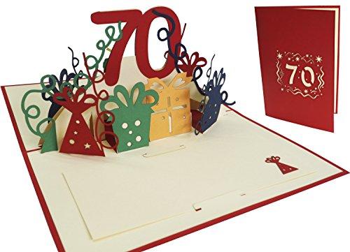 LIN-POP UP Grußkarten zum 70. Geburtstag, Geburtstagskarten Glückwunschkarten Grußkarten Geburtstag