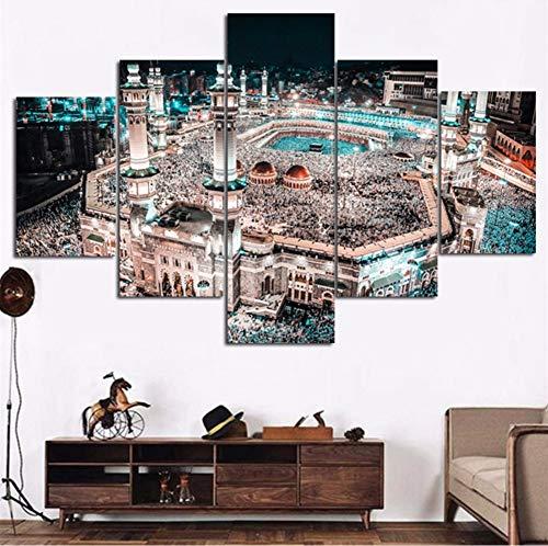 sshssh (Kein Rahmen) Modulare Wohnkultur Leinwand Hohe Quanlity 5 Panel MuslimModerneWandkunstIslam Bilder Für Wohnzimmer Kinderzimmer Malerei