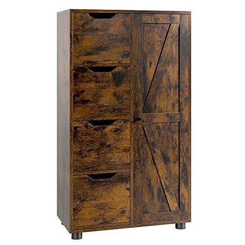 Kommode Vintage Beistellschrank Sideboard mit Tür und 4 Schubladen Badschrank Highboard für Badezimmer, Flur, Wohnzimmer Holz vintagebraun-schwarz 105x60x30 cm