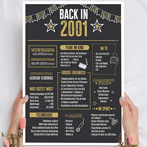 Geschenk 20 Geburtstag - Back in 2001 Holzbild - personalisierbar zum Hinstellen/Aufhängen optional beleuchtet, 20 Geburtstag Frauen & Männer - Wand-Bild Aufsteller Deko - persönliches Geschenk